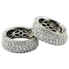 18 Karat Italian Artist Signed 2.5 Carat White Gold Solid Hoop Earrings
