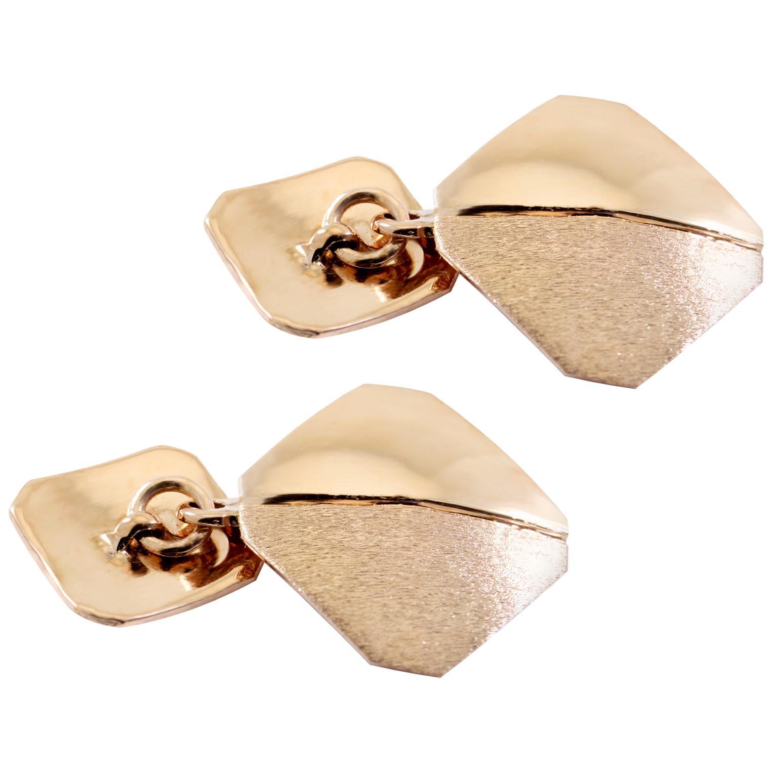 18 Karat Italian Rose Gold Brushed Cufflinks Handmade in Italy