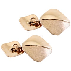 18 Karat Italian Rose Gold Brushed Cufflinks Handmade in Italy
