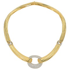 18 Karat Italian Yellow Gold 3 Carat Diamond Collar Necklace