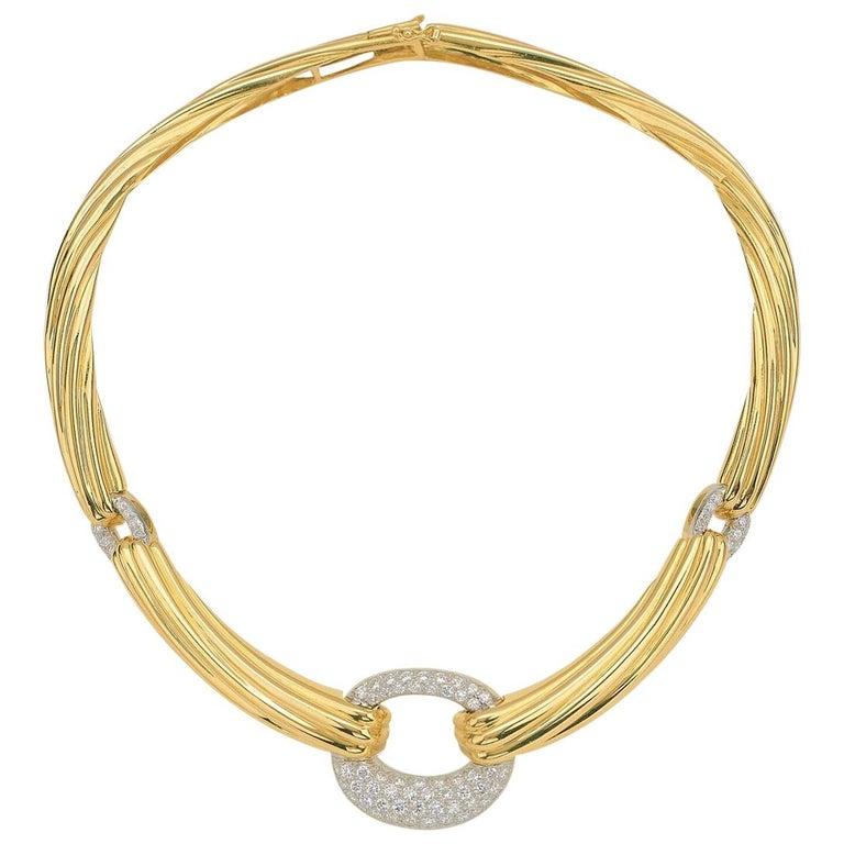 18 Karat Italian Yellow Gold 3 Carat Diamond Collar ...
