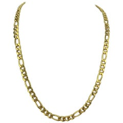 18 Karat Italian Yellow Gold Heavy Hollow Figaro Link Chain Necklace