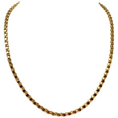 18 Karat Italian Yellow Gold Popcorn Link Chain Necklace