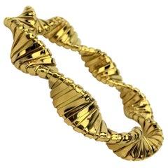 18 Karat Italian Yellow Gold Twisted Snake Link Flex Bracelet