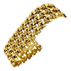 18 Karat Italian Yellow Gold Vintage Fancy Wide Ladies Bracelet