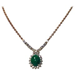 18 Karat Jade and Diamond Necklace