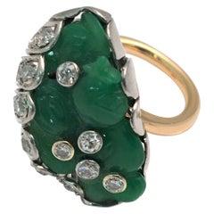 18 Karat Jade Diamond Statement Ring