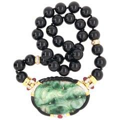 18 Karat Jade, Ruby, Onyx and Diamond Pin/Enhancer/Necklace Yellow Gold