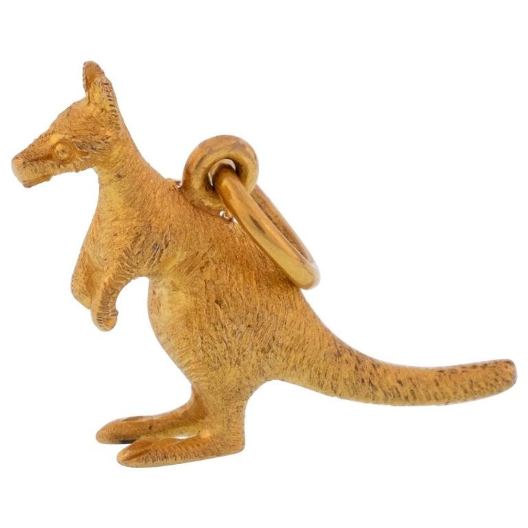 18 Karat Kangaroo Charm Pendant For Sale