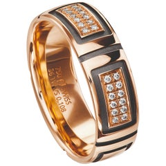 Furrer Jacot 18 Karat Rose Gold and Black Geometric Diamond Band