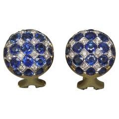 18 Karat Kashmir Sapphire and Diamond Button Earrings
