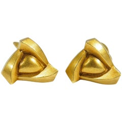 18 Karat Kieselstein Cord Cuff Links Yellow Gold Triangle, 1990