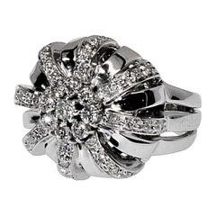 18 Karat Koesia White Gold & Diamond Crown Cocktail Ring