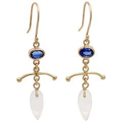 18 Karat Kyanite and Crystal Drop Earrings