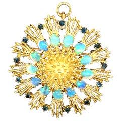 18 Karat La Triomphe Opal and Sapphire Sunburst Pendant and Pin