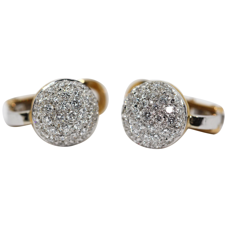 18 Karat Ladies Gold Earrings Set with 70 Diamonds by Wempe