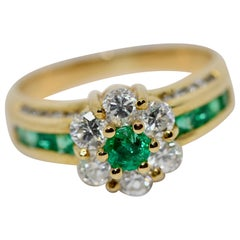 18 Karat Gold Ladies Ring Set with Diamonds and Emeralds, by Türler