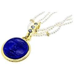 18 Karat Lapis Lazuli and Sapphire Pendant