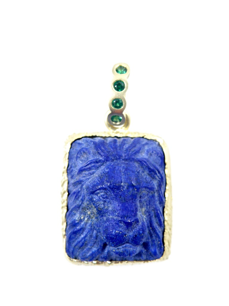 Modern 18 Karat Lapis Lazuli Carved Lionshead Pendant For Sale