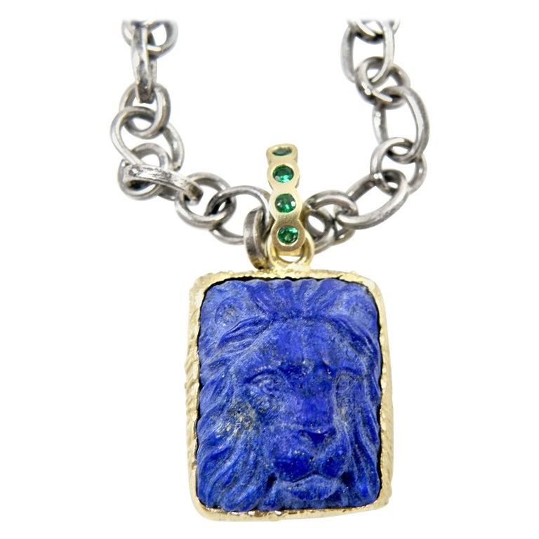 18 Karat Lapis Lazuli Carved Lionshead Pendant For Sale