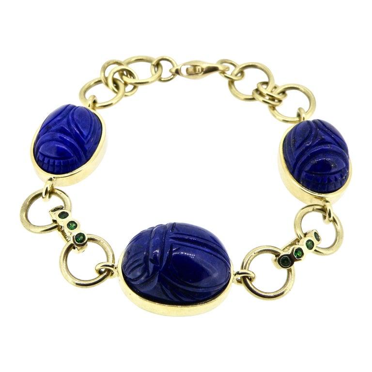 18 Karat Lapis Lazuli Scarab Link Bracelet For Sale