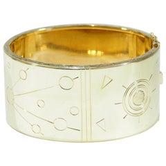 18 Karat Large Cuff Bracelet Wide Cosmic Motif