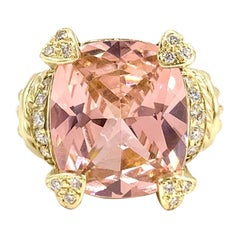 18 Karat Large Cushion Cut Pink Quartz and Diamond Ring