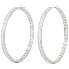 18 Karat Large Diamond Hoop Earrings