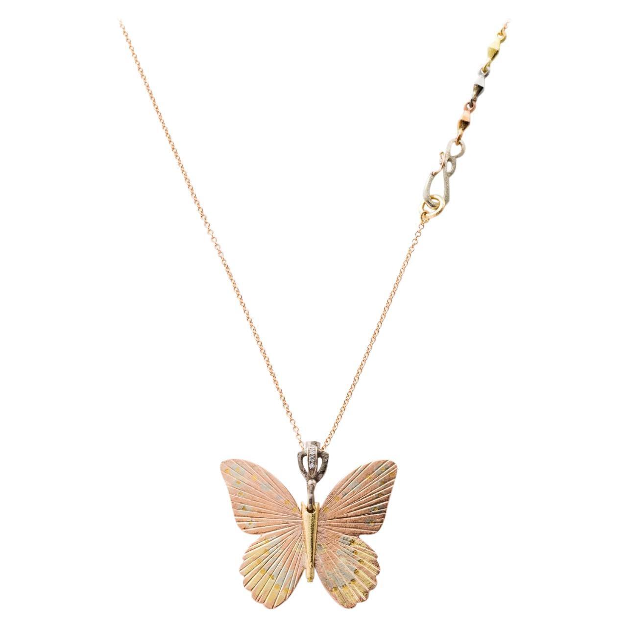 18 Karat Large Goliath Birdwing Butterfly Hinge Necklace