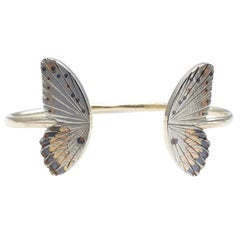 18 Karat Large Goliath Butterfly Open Wing Cuff Bracelet