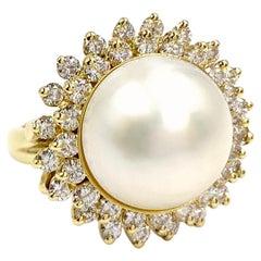 18 Karat Large Mabe Pearl and Diamond Cocktail Ring
