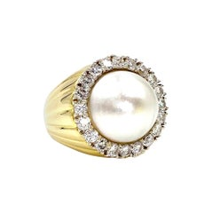18 Karat Large Mabé Pearl and Diamond Cocktail Ring