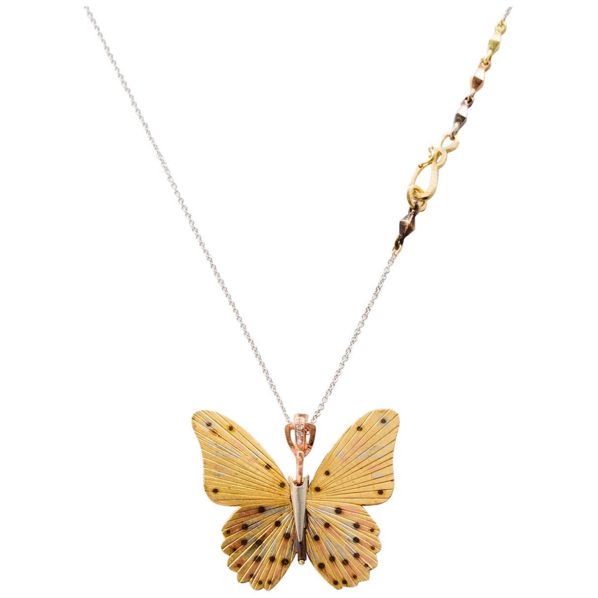 18 Karat Large Troides Helena Butterfly Hinge Necklace