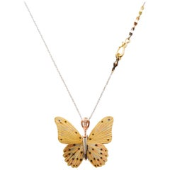 18 Karat Large Troides Helena Butterfly Hinge Necklace
