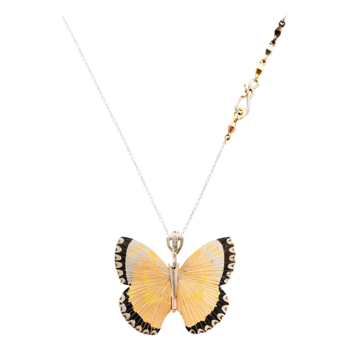 18 Karat Large White Lacewing Butterfly Hinge Necklace