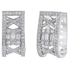 18 Karat MMNY Lattice Style Huggie Hoop Diamond Earrings