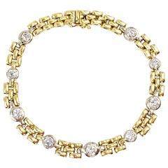 18 Karat Link Bracelet with Bezel Set Diamonds