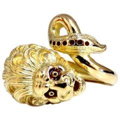 18 Karat Lion Wrap Enamel Ring