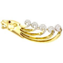 18 Karat Lioness Diamond and Ruby Large Brooch