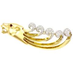 18 Karat Lioness Diamond and Ruby Large Brooch