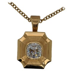 18 Karat Locket with Two Carat Antique Cut Cushion Diamond Pendant, GIA