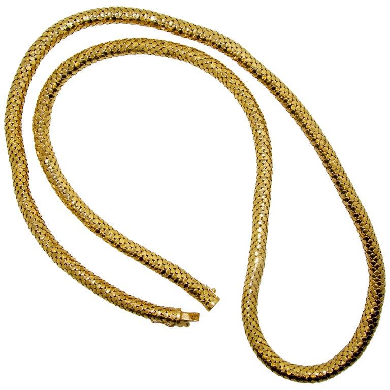18 Karat lange Retro-Stil-Seil-Kette, um 1950 1