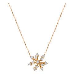 18 Karat Luminus Pink Gold Necklace with Vs Gh Diamonds