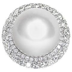 18 Karat Lustrous South Sea Pearl and Diamond Ring
