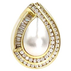18 Karat Mabe Pearl and Diamond Cocktail Ring