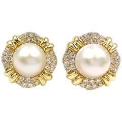 18 Karat Mabe Pearl and Diamond Large Button Earrings
