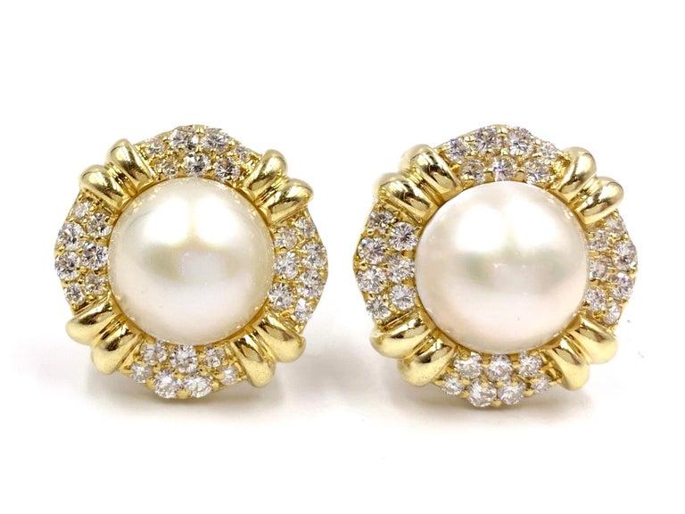 18 Karat Mabe Pearl And Diamond Large On Earrings