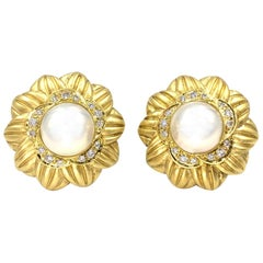 18 Karat, Mabe Pearl and Diamond Large Floral Button Earrings