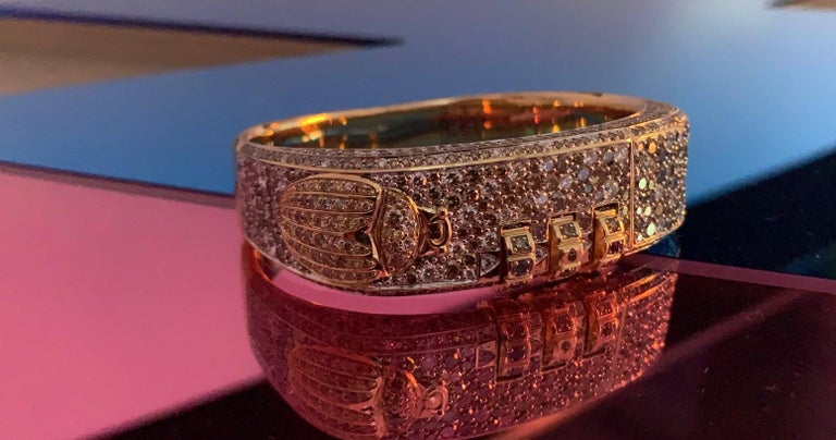 18 Karat Made to Order Customizable Pave Code Bracelet In New Condition For Sale In West Hollywood, CA