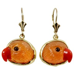 18 Karat Mandarin Garnet Handcarved Earrings
